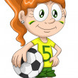 Girl football player character cartoon style vector illustration white background isolated cut — Stock Photo #25054927