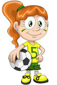 Girl football player character cartoon style vector illustration white background isolated cut — Stock Photo