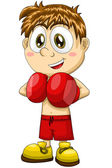 Boy boxer sportsman character cartoon style vector illustration white background isolated cut — Stock Photo