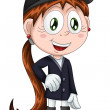 Girl jockey horsewoman character cartoon style vector illustration white background isolated cut - Stock Photo