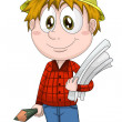 Stock Photo: Boy engineer designer character cartoon style vector illustration white background isolated cut