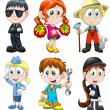 Children professions hobbies clipart cartoon style vector illustration white background isolated cut - Stock Photo