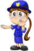 Girl traffic controller police character cartoon style vector illustration white background isolated cut — Stock Photo
