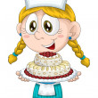 Girl child cook confectioner character cartoon style vector white background isolated cut - Stock Photo