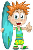 Boy child surfer character cartoon style vector illustration white background isolated cut — Stock Photo