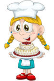 Girl child cook confectioner character cartoon style vector white background isolated cut — Stock Photo