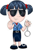 Girl policewoman handcuffs character cartoon style vector illustration white background isolated cut — Stock Photo