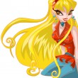 Girl blond winx club character cartoon style vector illustration white background isolated cut - Stock Photo