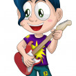 Boy guitar musician character cartoon style vector illustration white background isolated cut — Stock Photo