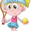 Royalty-Free Stock Photo: Girl tennis player character cartoon style vector illustration white background isolated cut