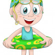Girl child swim ring character cartoon style vector illustration white background isolated cut — Stock Photo