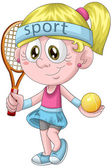 Girl tennis player character cartoon style vector illustration white background isolated cut — Stock Photo