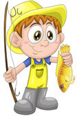 Boy child fisherman fish character cartoon style vector illustration white background isolated cut — Stock Photo