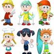Kids professions hobbies clipart cartoon style vector illustration white background isolated cut - Stock Photo
