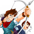 Boys anime archers character cartoon style vector illustration white background isolated cut - Stock Photo