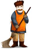 Man janitor yardman character cartoon style vector illustration white background isolated cut — Stock Photo
