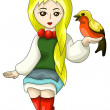 Girl folk bird character cartoon style vector illustration white background isolated cut - Stock Photo
