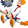 Stock Photo: Boy village broom owl clipart cartoon style vector illustration white background isolated cut