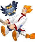 Boy village broom owl clipart cartoon style vector illustration white background isolated cut — Stock Photo