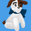 Dog puppy brown white character cartoon style vector illustration blue background isolated cut — Stock Photo #25562299