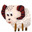 Sheep ewe character cartoon style vector illustration white background isolated cut — Stock Photo