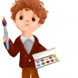 Boy painter paints brush character cartoon style vector white background isolated cut — Stock Photo #25621337