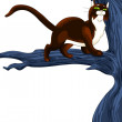 Cat wild tree character cartoon style vector illustration white background isolated cut — Stock Photo