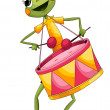 Insect grasshopper drum character cartoon style vector illustration white background isolated cut — Stock Photo