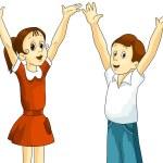 garota garoto crianças clipart cartoon corte isolado de fundo branco estilo de ilustração vetor — Foto Stock