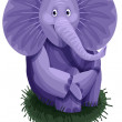 Stock Photo: Elephant purple character cartoon style vector illustration white background isolated cut