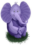 Elephant purple character cartoon style vector illustration white background isolated cut — Stock Photo