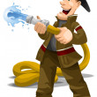 Man firefighter character cartoon style vector illustration white background isolated cut — Stock Photo