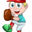 Royalty-Free Stock Photo: Boy baseball sport character cartoon style vector illustration white background isolated cut