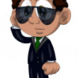 Boy black suit sunglasses busy character cartoon style vector illustration white background isolated cut — Stock Photo