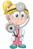 Girl doctor stethoscope character cartoon style vector illustration white background isolated cut — Stock Photo