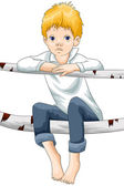 Boy child sad log character cartoon style vector illustration white background isolated cut — Stock Photo