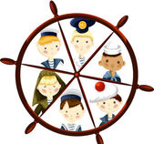 Children sailor crew character cartoon style vector illustration white background isolated cut — Stock Photo