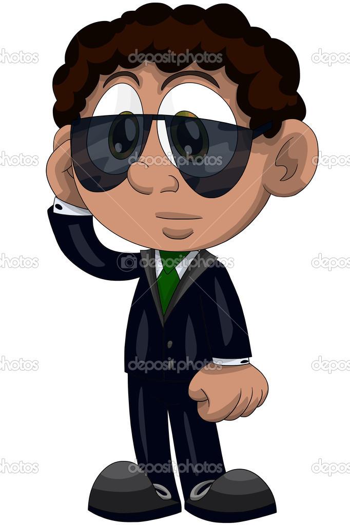 Ragazzo nero vestito occhiali da sole occupato personaggio