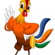 Stock Photo: Rooster hen orange character cartoon style vector illustration white background isolated cut