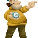 Hombre marinero capitán personaje de dibujos animados estilo vector ilustración blanco fondo aislado corte — Foto de Stock