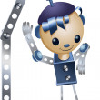 Toy boy iron robot character cartoon style vector illustration white background isolated cut — Stock Photo
