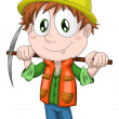 Boy miner worker character cartoon style vector illustration white background isolated cut — Stock Photo