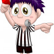 Boy football referee character cartoon style vector illustration white background isolated cut — Stock Photo