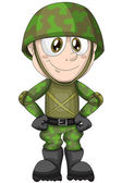 Boy child soldier war character cartoon style vector illustration white background isolated cut — Stock Photo