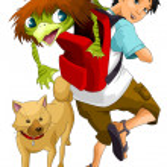 Boy teen tourist dog turtle character cartoon style vector illustration white background isolated cut — Stock Photo
