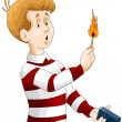 Stock Photo: Boy child matches fire character cartoon style vector illustration white background isolated cut