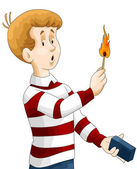 Boy child matches fire character cartoon style vector illustration white background isolated cut — Stock Photo