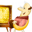 Stock Photo: Man old TV character cartoon style vector illustration white background isolated cut