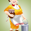 Stock Photo: Wommilkmaid pitcher character cartoon style vector illustration white background isolated cut
