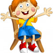 Boy child red-haired chair character cartoon style vector white background isolated cut — Stock Photo